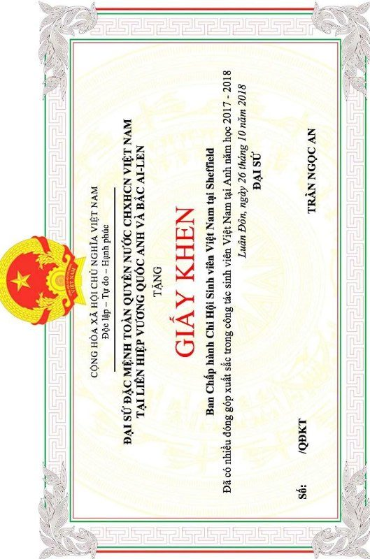 Certificate awadred by Vietnamese Embassy in the UK