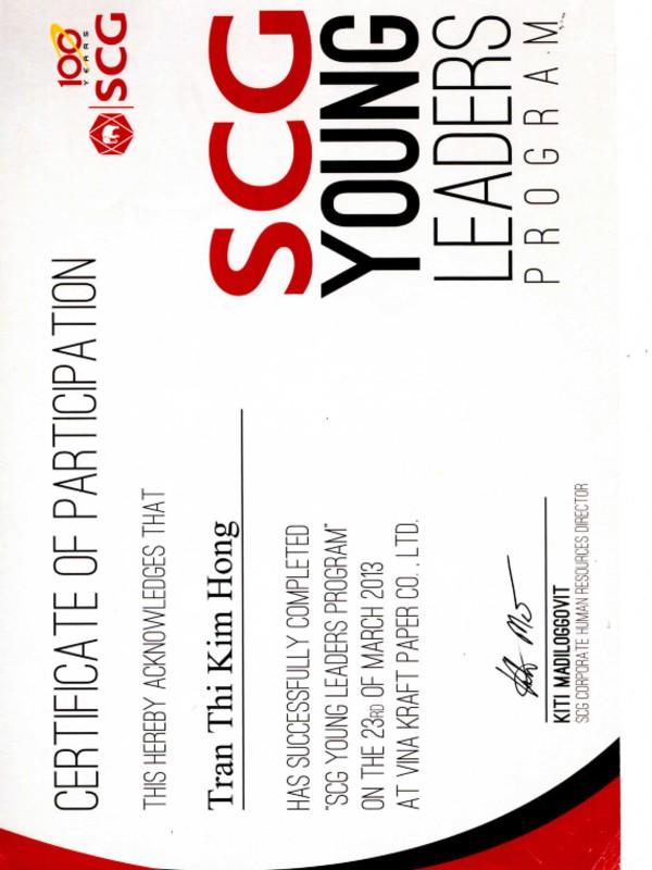 Certificate of SCG Leadership Program
