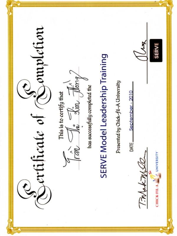Certificate of SERVE Model Leadership