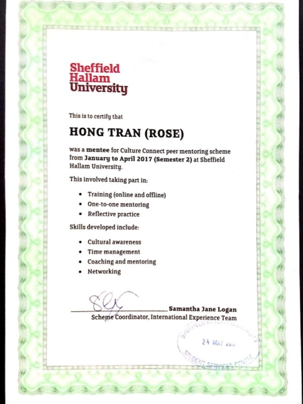 SHU Culture Connect Certificate