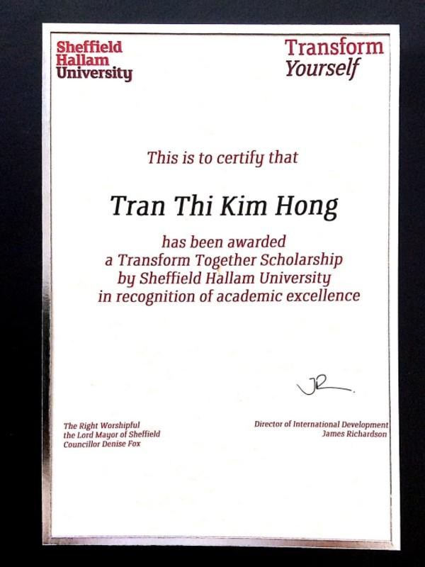 SHU Transformation Scholarship Certificate