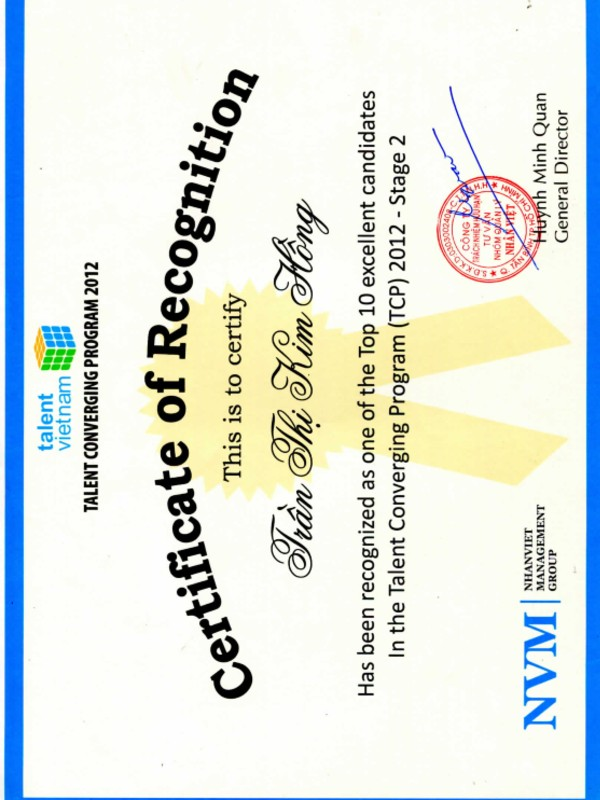Talent Converging Program Certificate 2012